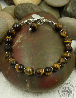 Tiger's Eye & Sterling Silver Bracelet - EarthWhorls, LLC