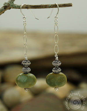 African Clay Bead & sterling Silver Fall Fashion Earrings