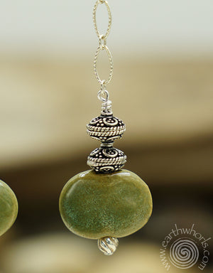 African Clay Bead & sterling Silver Fall Fashion Earrings - EarthWhorls, LLC