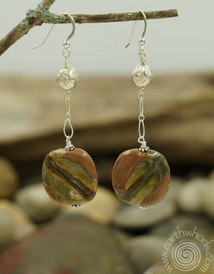 Brown to Beige African Clay Bead and Sterling Silver Fall Fashion Earrings