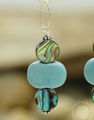 Abalone, African Clay Bead & Sterling Silver Earrings