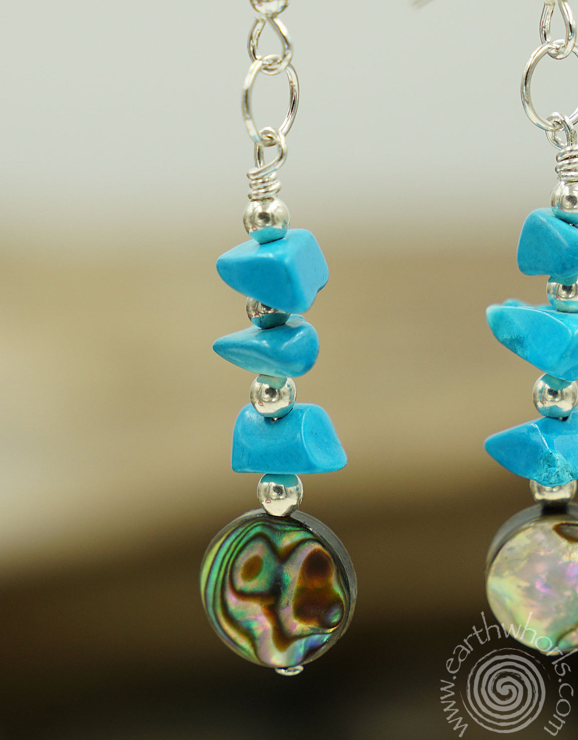 Turquoise, Abalone & Sterling Silver Earrings - EarthWhorls, LLC