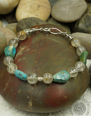 Striated Agate, Turquoise & Sterling Silver Bracelet - EarthWhorls, LLC
