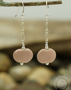 African Clay Bead & Sterling Silver Earrings