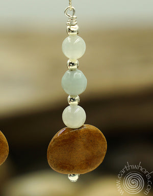 Aquamarine, African Clay Bead & Sterling Silver Drop Earrings - EarthWhorls, LLC