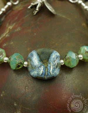Agate, African Clay Bead & Sterling Silver Bracelet - EarthWhorls, LLC