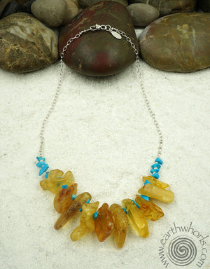 Amber, Turquoise & Sterling Silver Fashion Necklace - EarthWhorls, LLC