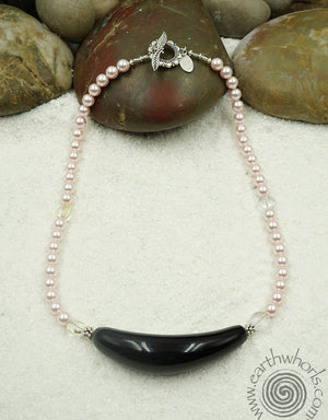 Crystal, Handmade Glass & Sterling Silver Necklace - EarthWhorls, LLC