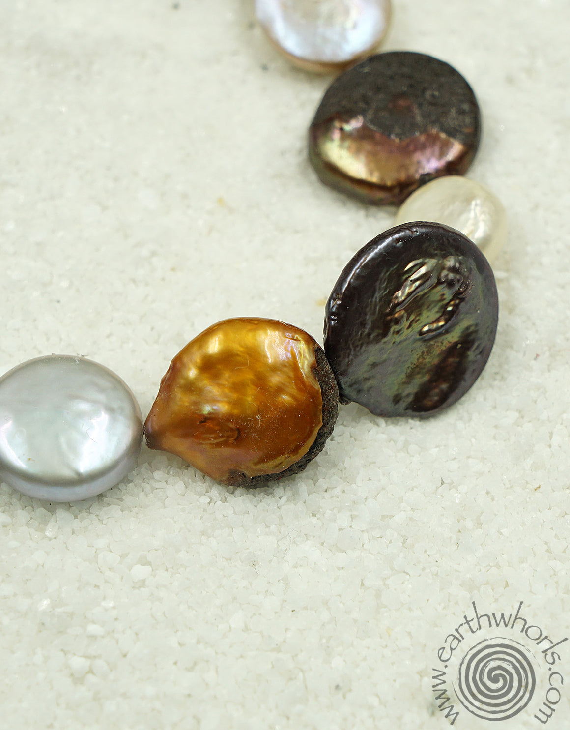 Fresh Water Pearl & Sterling Silver Necklace - EarthWhorls, LLC