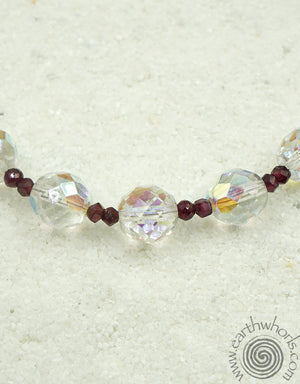 Swarovsky Fine Crystal, Garnet & Sterling Silver Necklace - EarthWhorls, LLC