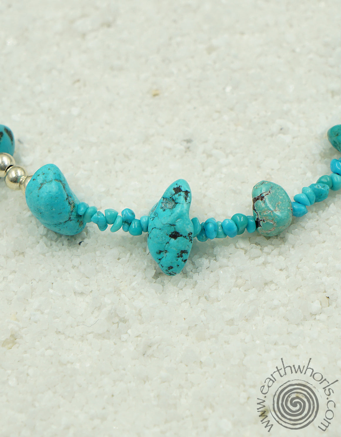 Turquoise & Sterling Silver Necklace - EarthWhorls, LLC