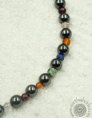 Mixed Stone & Sterling Silver Short Necklace - EarthWhorls, LLC