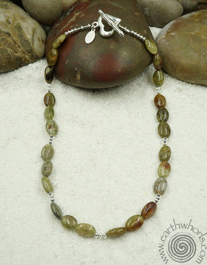 Agate & Sterling Silver Necklace with Sterling Silver Heart Toggle - EarthWhorls, LLC