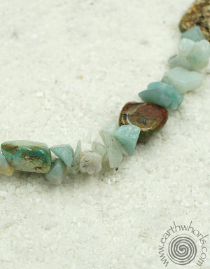 Aquamarine, Turquoise & Sterling Silver Necklace - EarthWhorls, LLC