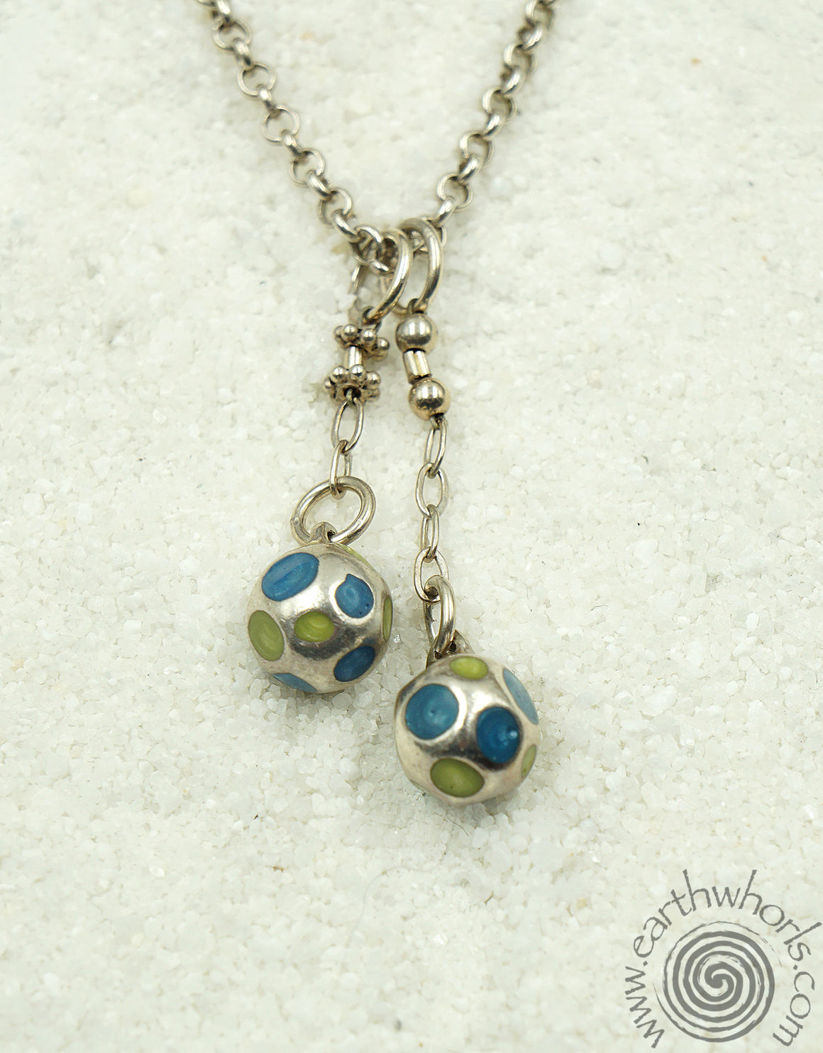 Antique Silver & Sterlin Silver Pendant Necklace - EarthWhorls, LLC