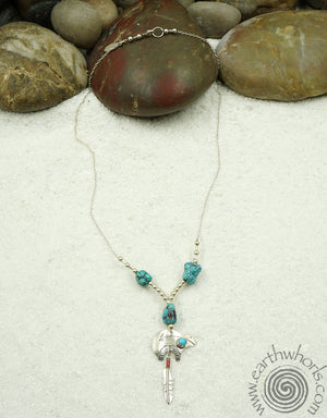 Native American Theme, Sterling Silver & Turquoise Necklace - EarthWhorls, LLC