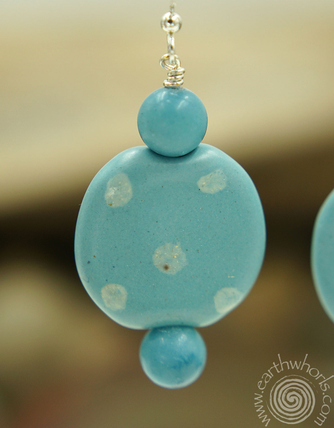 African Clay Bead , Aquamarine & Sterling Silver Earrings - EarthWhorls, LLC