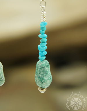 Turquoise & Sterling Silver Drop Earrings - EarthWhorls, LLC