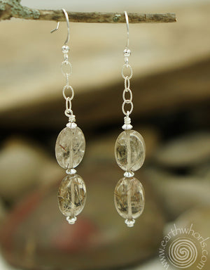 Striated Agate & Sterling Silver Earrings - EarthWhorls, LLC