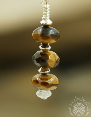 Tiger's Eye & Sterling Silver Drop Earrings - EarthWhorls, LLC