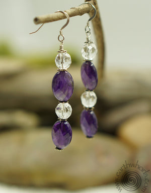 Amethyst & Crystal Earrings - EarthWhorls, LLC