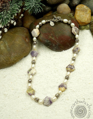 Jasper, Pearl & Silver Necklace - EarthWhorls, LLC