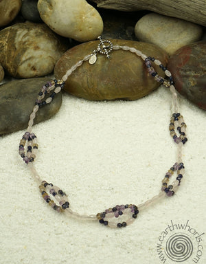 Ametrine, Rose Quartz & Silver Necklace - EarthWhorls, LLC