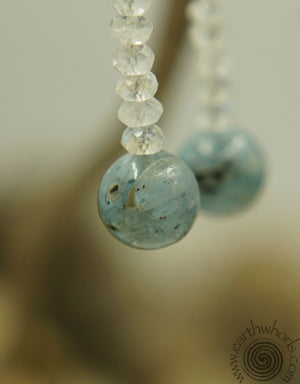 Kyanite, Quartz & Silver Earrings - EarthWhorls, LLC