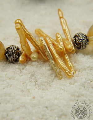 Citrine, Pearl & Sterling Silver Necklace - EarthWhorls, LLC