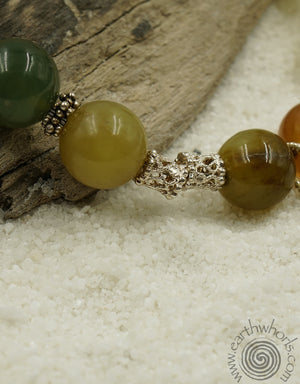 Jade, Hill Tribe, Bali & Sterling Silver Necklace - EarthWhorls, LLC