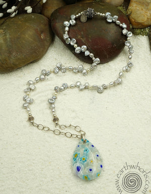 Millifiore Glass Pendant & Pearl Necklace - EarthWhorls, LLC
