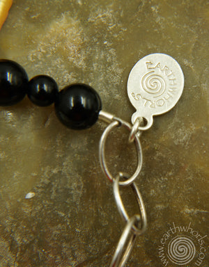 Onyx, Pearl & Citrine Necklace - EarthWhorls, LLC