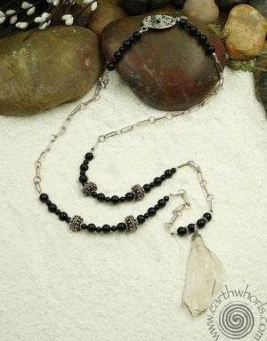 Onyx, Kunite & Sterling Pendant Necklace - EarthWhorls, LLC