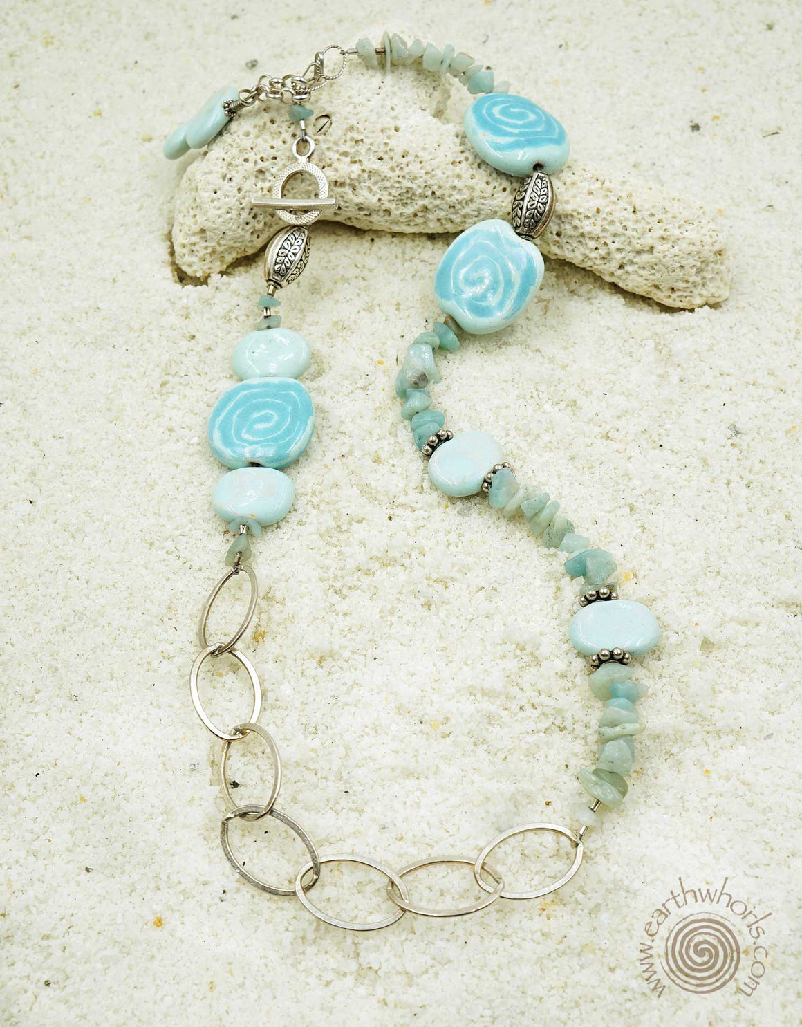 African Clay Bead, Aquamarine & Sterling Silver Necklace - EarthWhorls, LLC