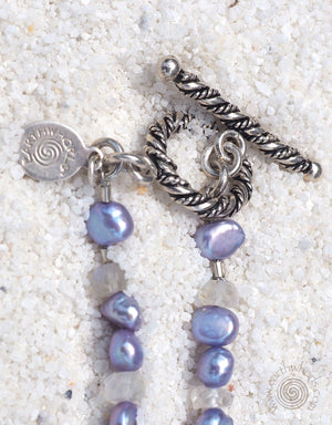 Lapis, Pearl, Moonstone & Silver Necklace - EarthWhorls, LLC