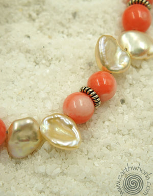 Coral, Pearl & Silver Necklace - EarthWhorls, LLC