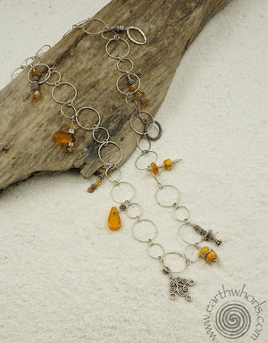 Amber, Carnelian, Hill Tribe & Sterling Silver Charm Necklace - EarthWhorls, LLC