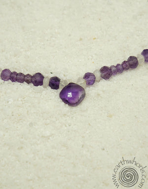 Amethyst, Rose Quartz & Silver Necklace - EarthWhorls, LLC
