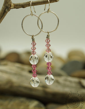 Swarovsky Crystal & Silver Earrings - EarthWhorls, LLC