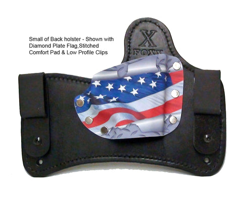 SOB holster shown with Diamondplate Flag Kydex