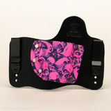 Pink Skullz Kydex Pattern on Black Hybird Holster
