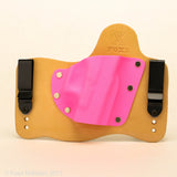 Hot Pink Kydex Color on Natural Leather Hybrid Holster