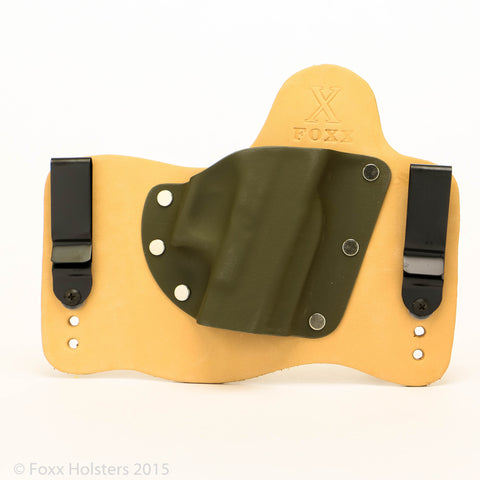 Hybrid holster in Horsehide with OD Green Kydex
