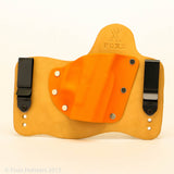 Foxx Holsters Orange Kydex Color on Natural Leather Hybird Holster