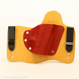 Red Hot Red Kydex Color on Natural Leather Hybird Holster