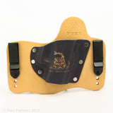 Don't Tread on Me Kydex Pattern on Natural Leather Hybird Holster