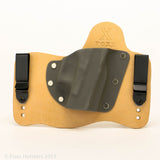 Gunmetal Grey Kydex Color on Hybird Holster -Horsehide