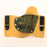 Forest Digital Camo Kydex Pattern on Natural Leather Hybird Holster