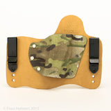 Old Skool Camo Kydex Pattern on Natural Leather Hybird Holster