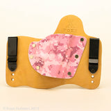Pink Digital Camo Kydex Pattern on Natural Leather Hybird Holster